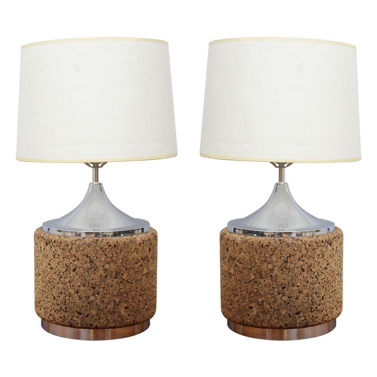 Beautiful Pair Of Cork And Chrome Table Lamps 1970s Usa