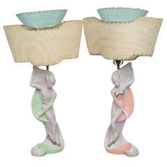 Pair of Continental Deco Lamps by Emil Bertolozzi, Italy, 1950s