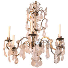 Six-Light Rock Crystal Chandelier by Bagues