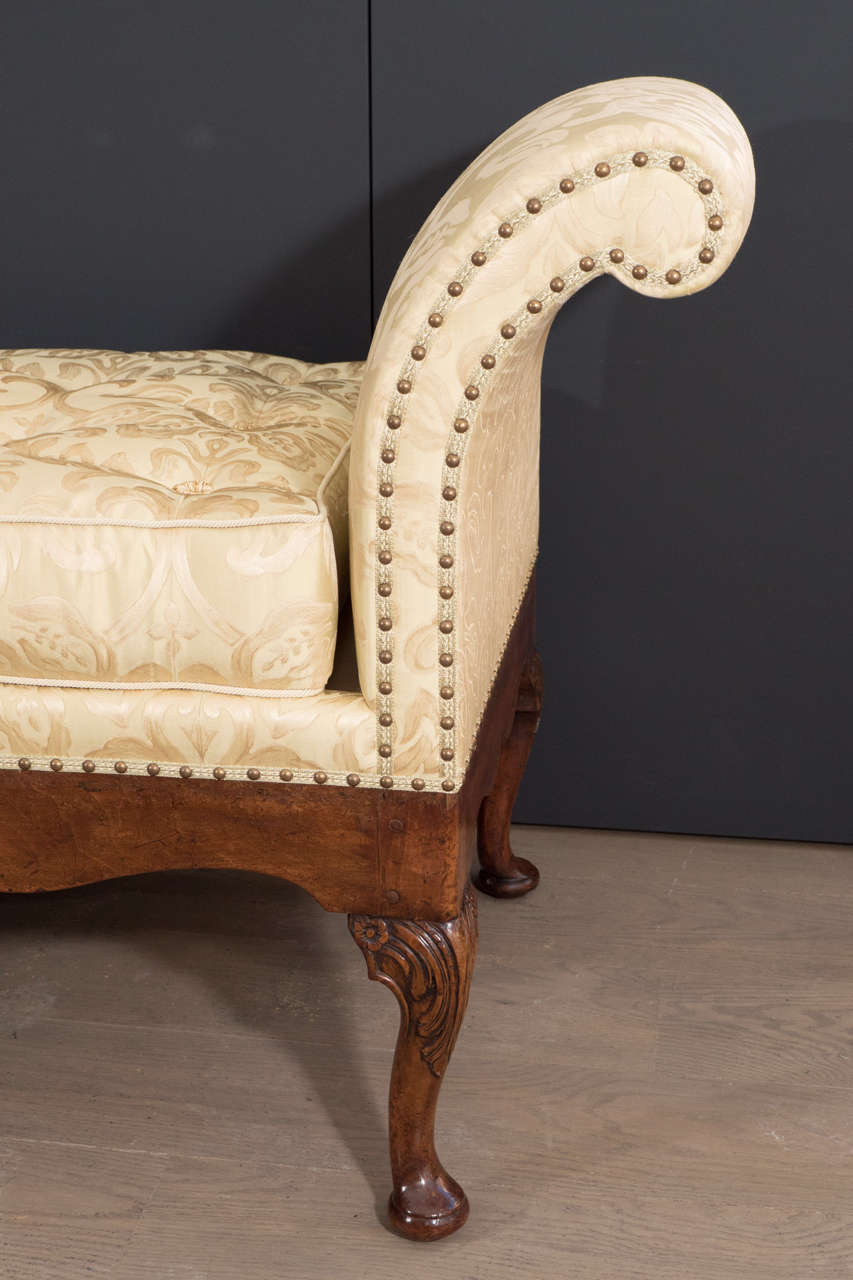 Rare george ii walnut and shell carved day bed for sale at