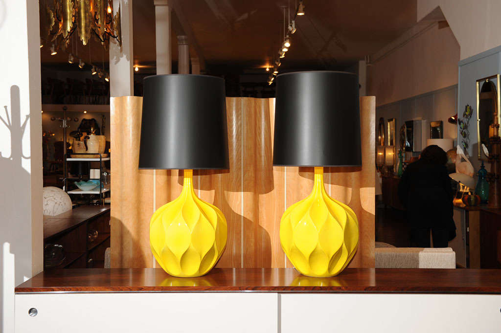 Pair of Gorgeous Yellow Lamps 3