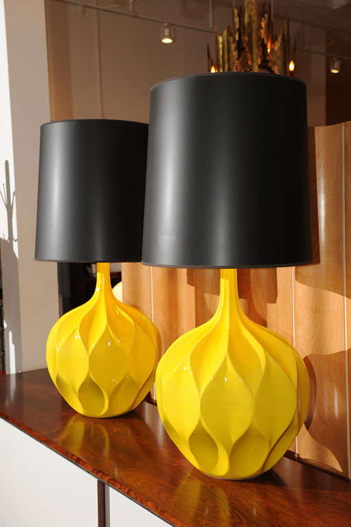 Pair of Gorgeous Yellow Lamps 4