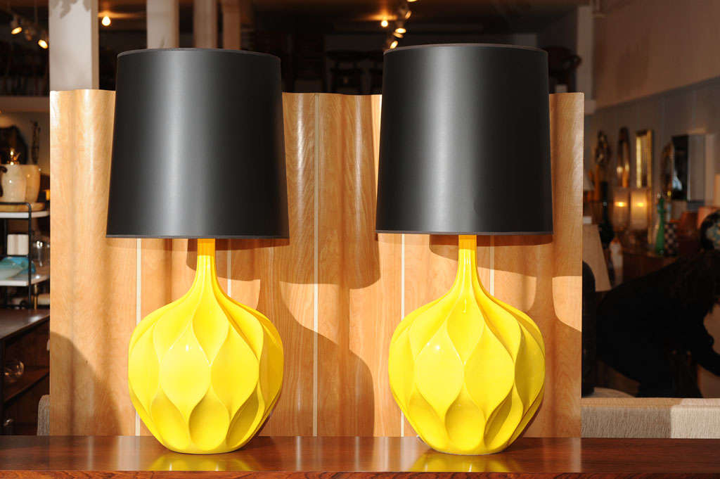 Pair of Gorgeous Yellow Lamps 2
