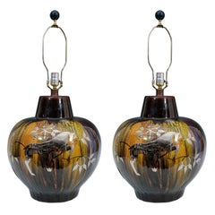 Pair of Mid Century Monumental Ceramic Lamps w/ Silver Overlay
