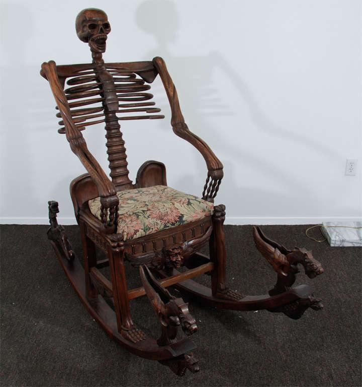 "Hand Carved ""Momento Mori"" Skeleton Rocking Chair at 1stdibs"