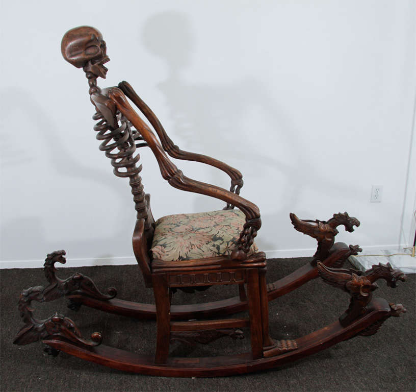 Hand Carved Quot Momento Mori Quot Skeleton Rocking Chair At 1stdibs