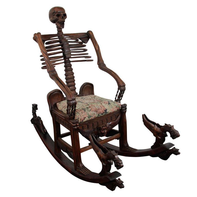 "Hand Carved ""Momento Mori"" Skeleton Rocking Chair"