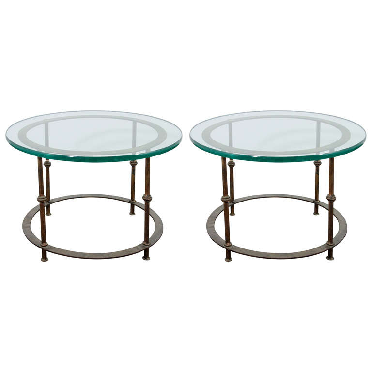 Pair Of Mid Century Iron Rod Accent Tables With Round Glass Tops At 1stdibs