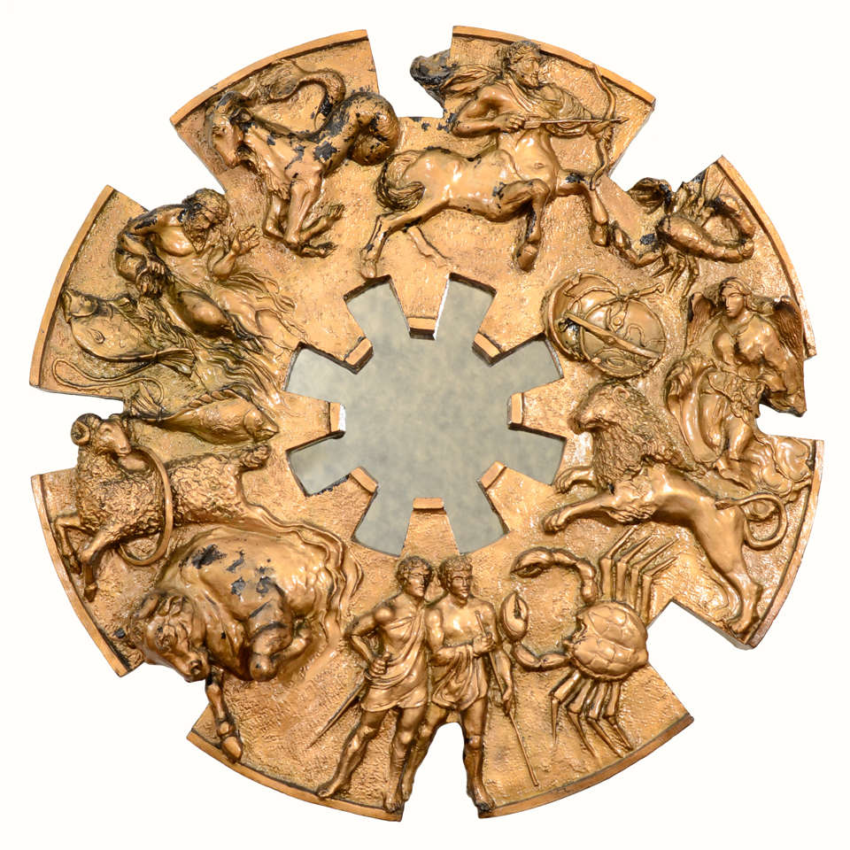 Zodiac Wheel with Mirror Wall Art