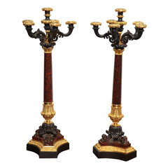 Pair of 19th Century French, Bronze and Marble Candelabra