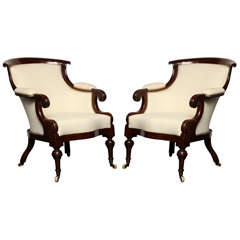 Exceptional Pair of Early 19th Century English Library Chairs
