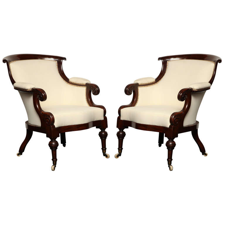 Exceptional Pair Of Early 19th Century English Library Chairs For