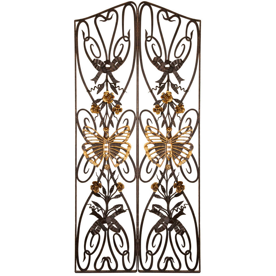 Wrought Iron Gate Butterfly Motif Panels