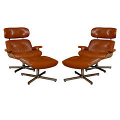 Pair of Eames Style Lounge Chairs and Ottomans