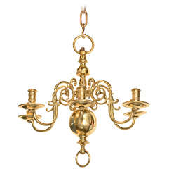 Six-Light Dutch Brass Antique Chandelier