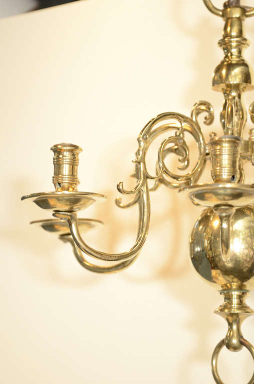 Six-Light Dutch Brass Antique Chandelier 3 - Six-Light Dutch Brass Antique Chandelier At 1stdibs