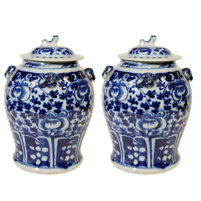 Pair Large Antique Chinese Porcelain Blue And White Covered Jars
