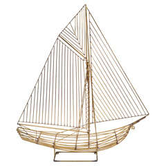 Mid Century Brass Sailboat Sculpture by Curtis Jere