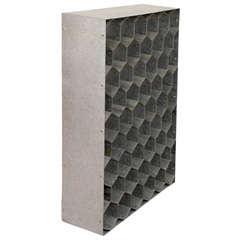 Vintage Industrial Steel Sculptural Honeycomb Wine Rack