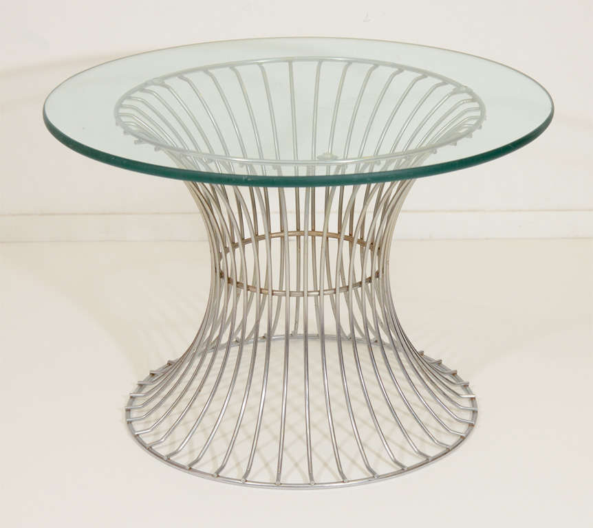 Pair Of Mid Century Chrome Wire Base Glass Top Side Tables 2