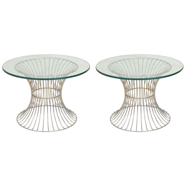 Pair Of Mid Century Chrome Wire Base Glass Top Side Tables For Sale