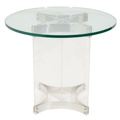 Single Mid Century Circular Side Table With Lucite Base by Charles Hollis Jones