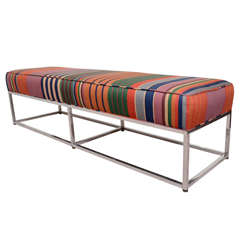 Mid Century Striped Bench by Milo Baughman