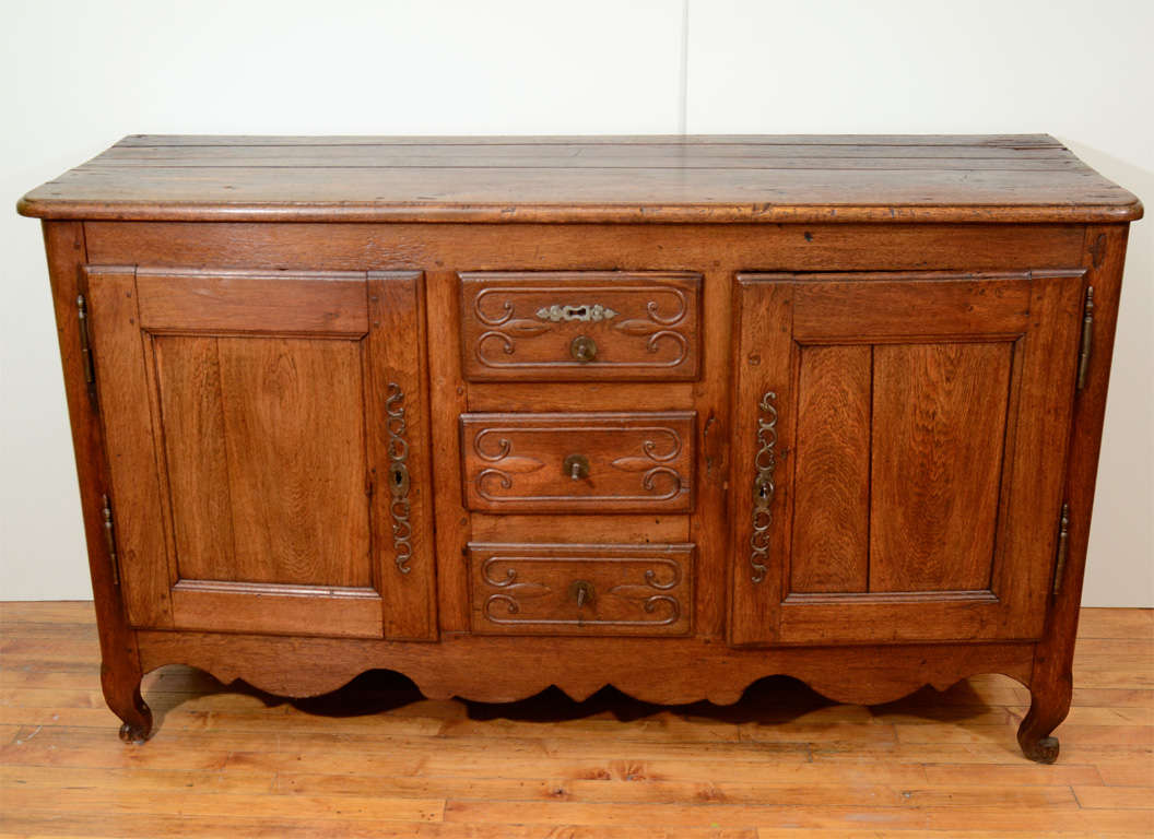 Antique French Oak Sideboard with Three Drawers and Two Cabinets 2 - Antique French Oak Sideboard With Three Drawers And Two Cabinets