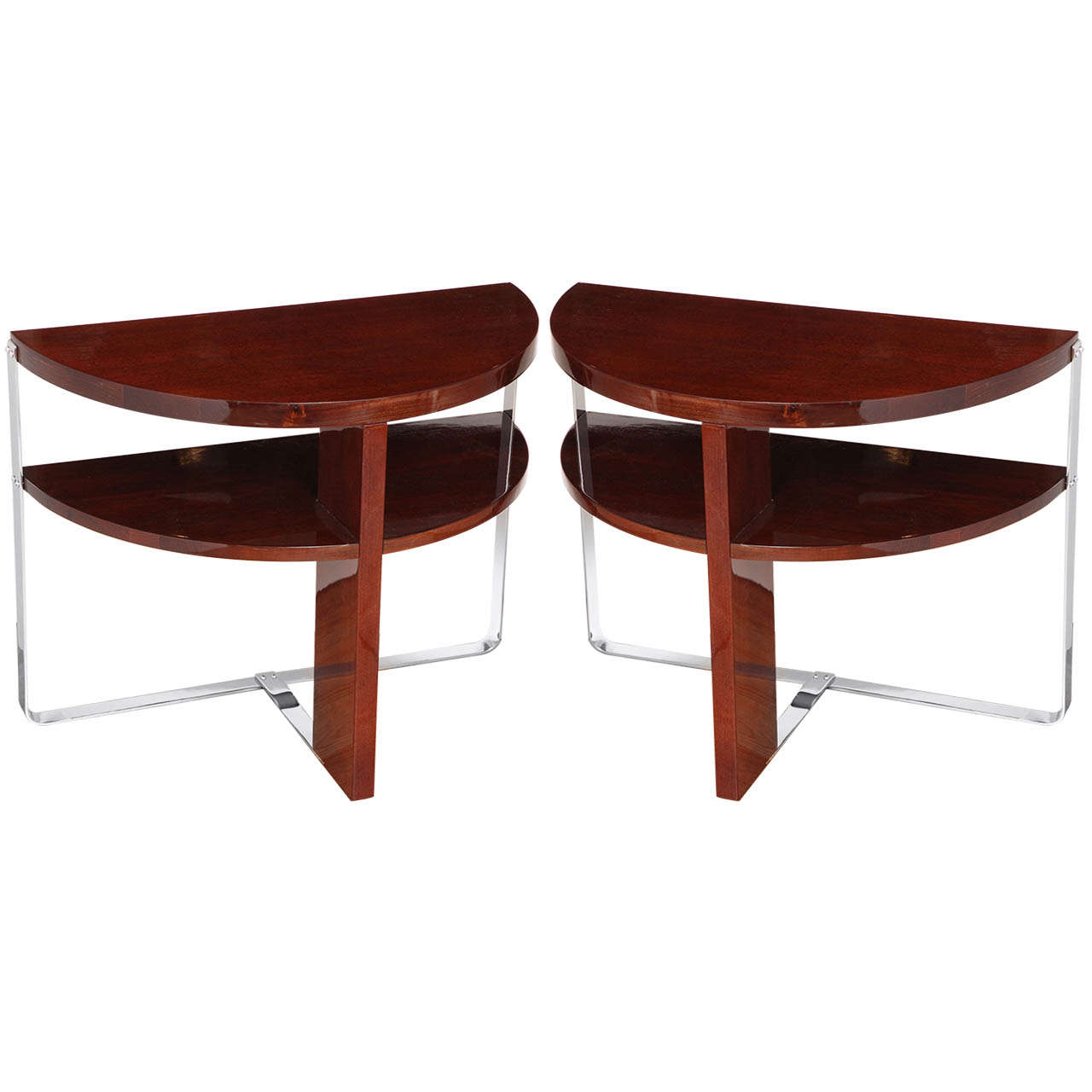 Elegant Pair Of Machine Age Art Deco Side Tables In The Style Of Donald Deskey 1