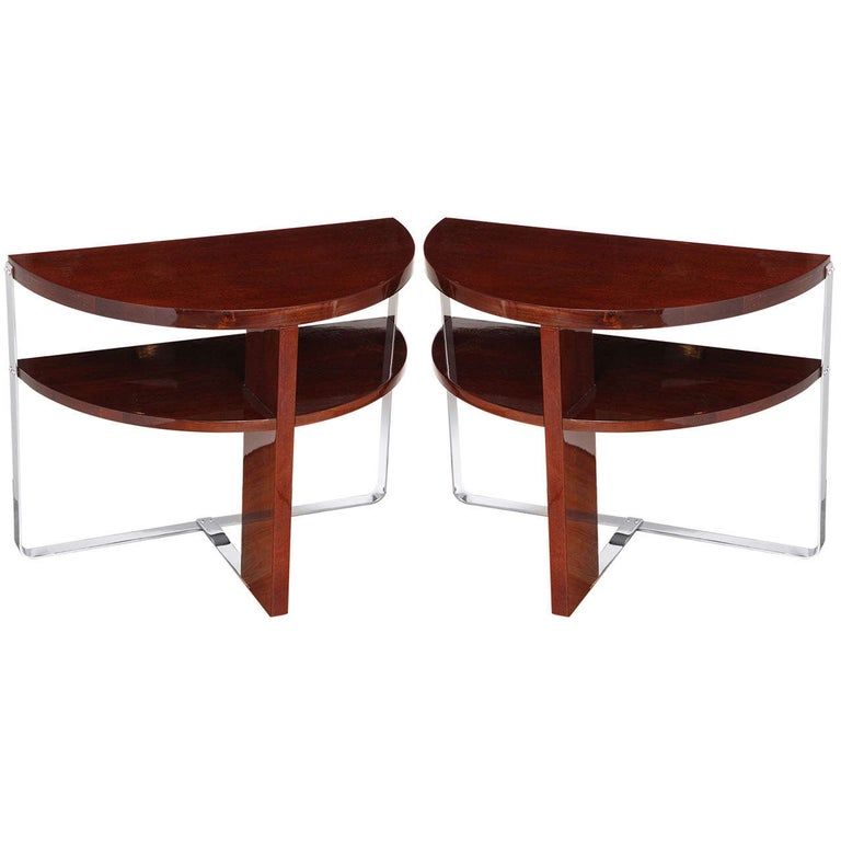 Pair of Machine Age Art Deco Side Tables in the Style of Donald Deskey For Sale