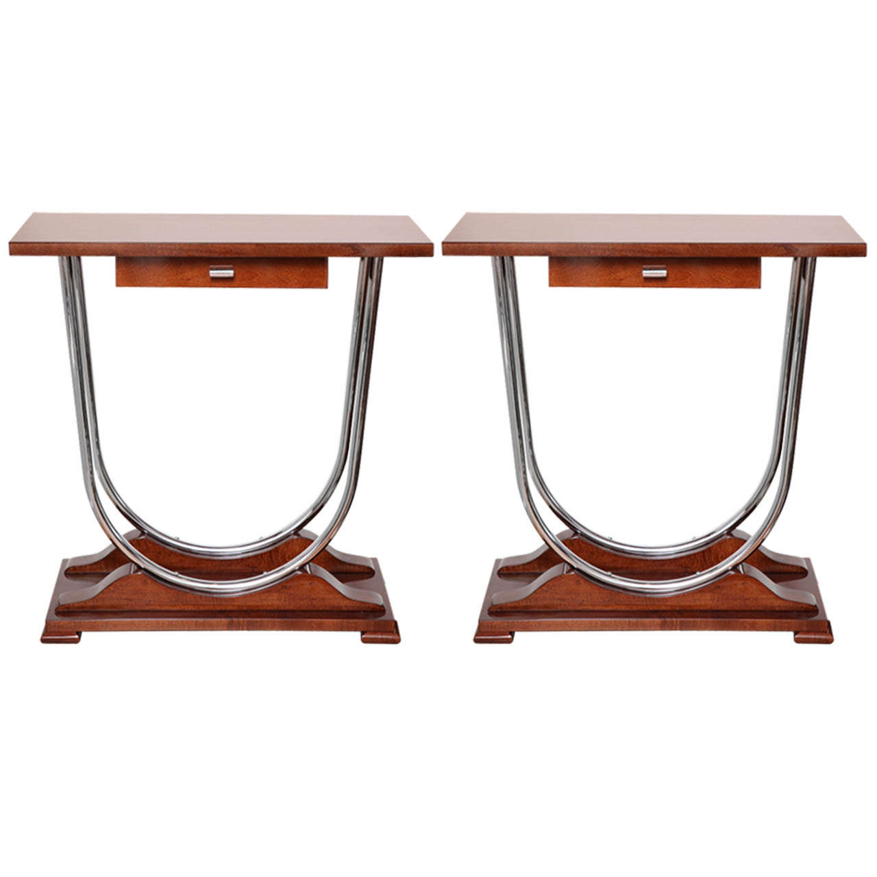 Pair of Machine Age Art Deco Console Tables with Double Chrome U-Support