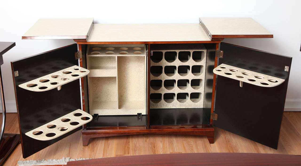 Mid century modern mid century fold out bar cabinet for sale