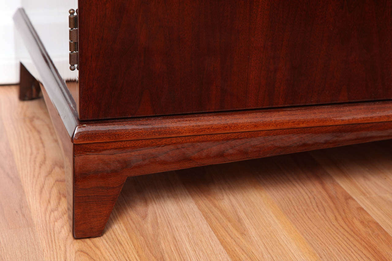 Walnut Mid-Century Fold-Out Bar Cabinet For Sale