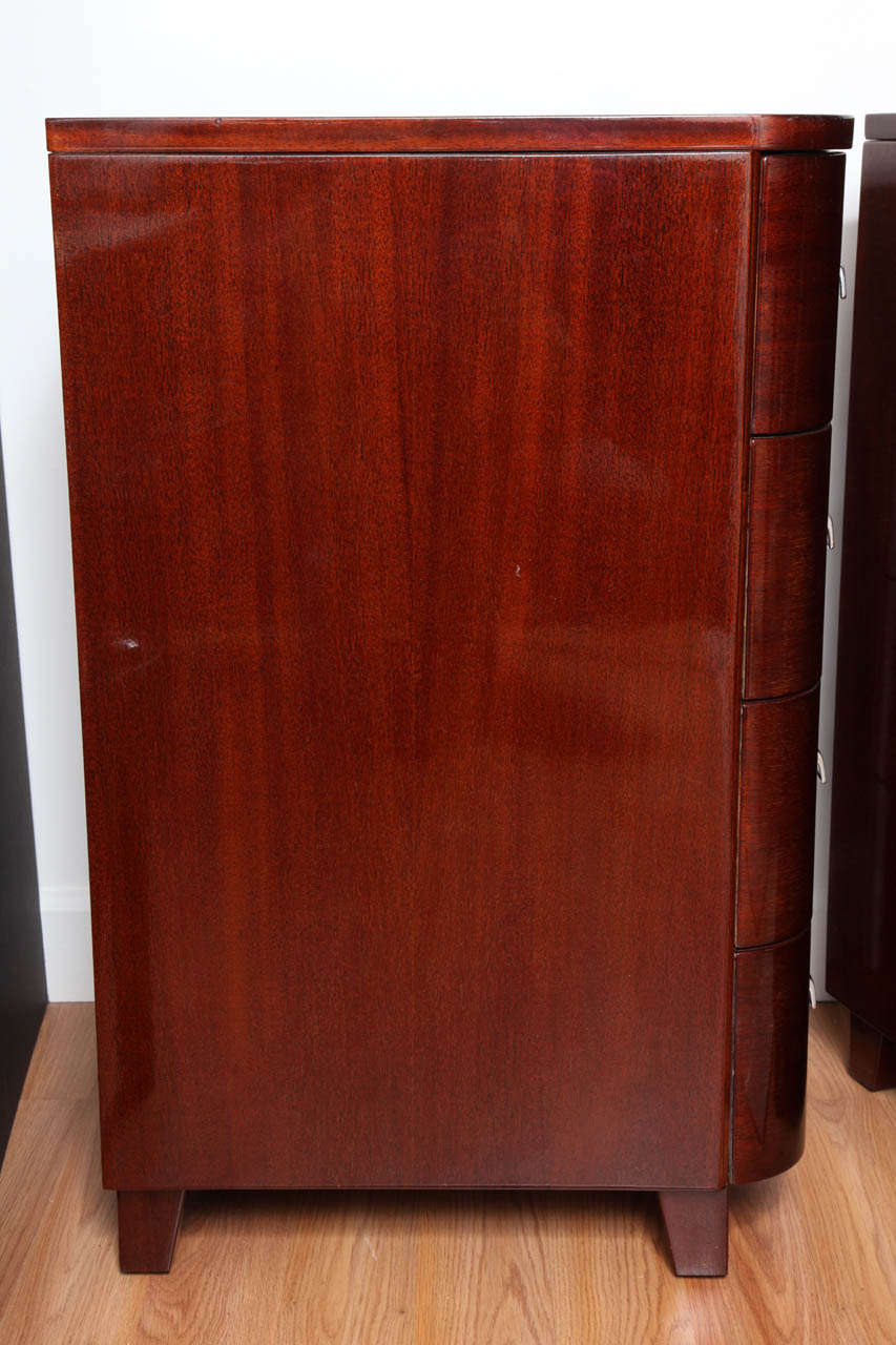 Pair of Tall Art Deco Streamline Nightstands For Sale at 1stdibs