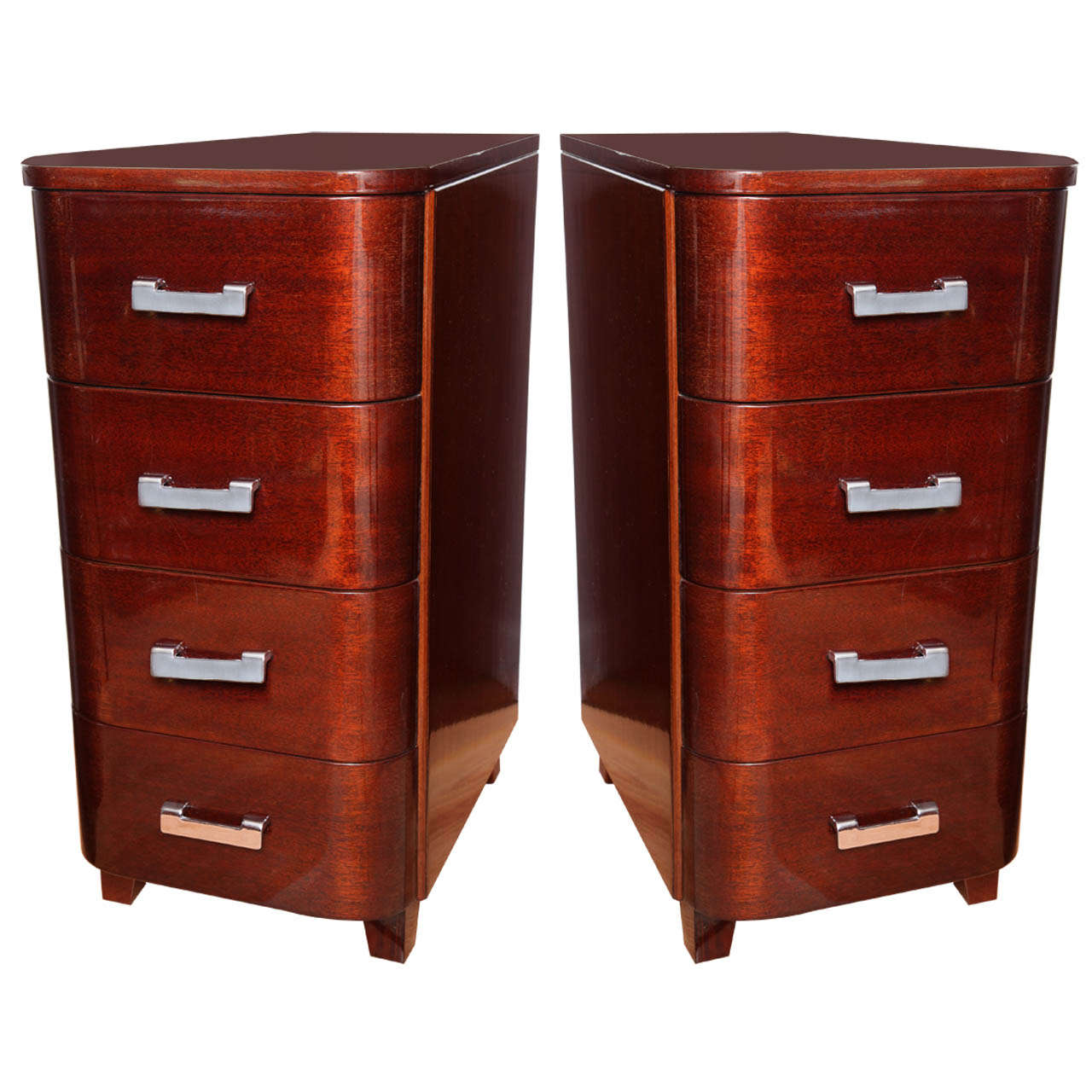pair of tall art deco streamline nightstands for sale at