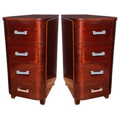 Pair of Tall Art Deco Streamline Nightstands