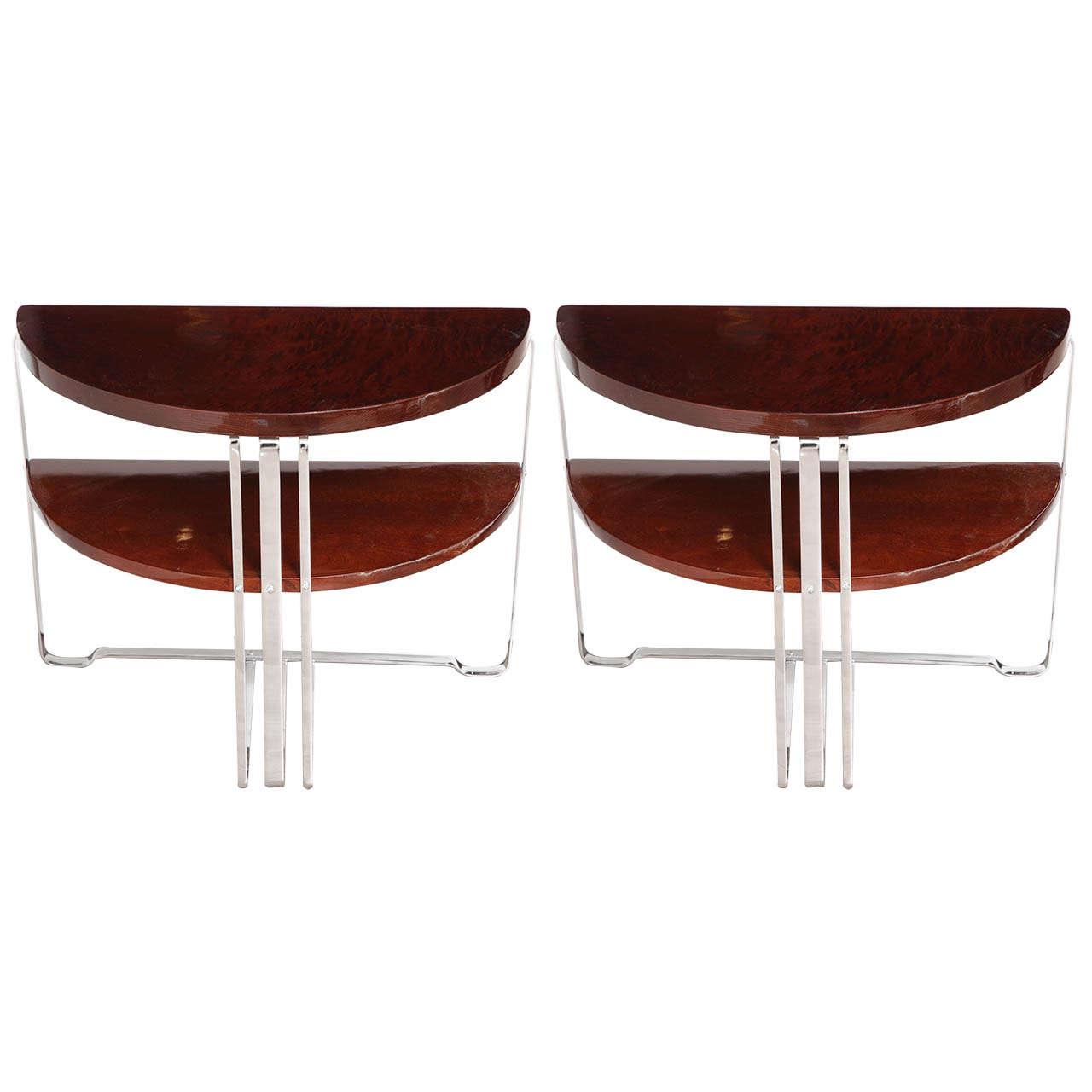 Single Machine Age Art Deco Half Circle Side Table For