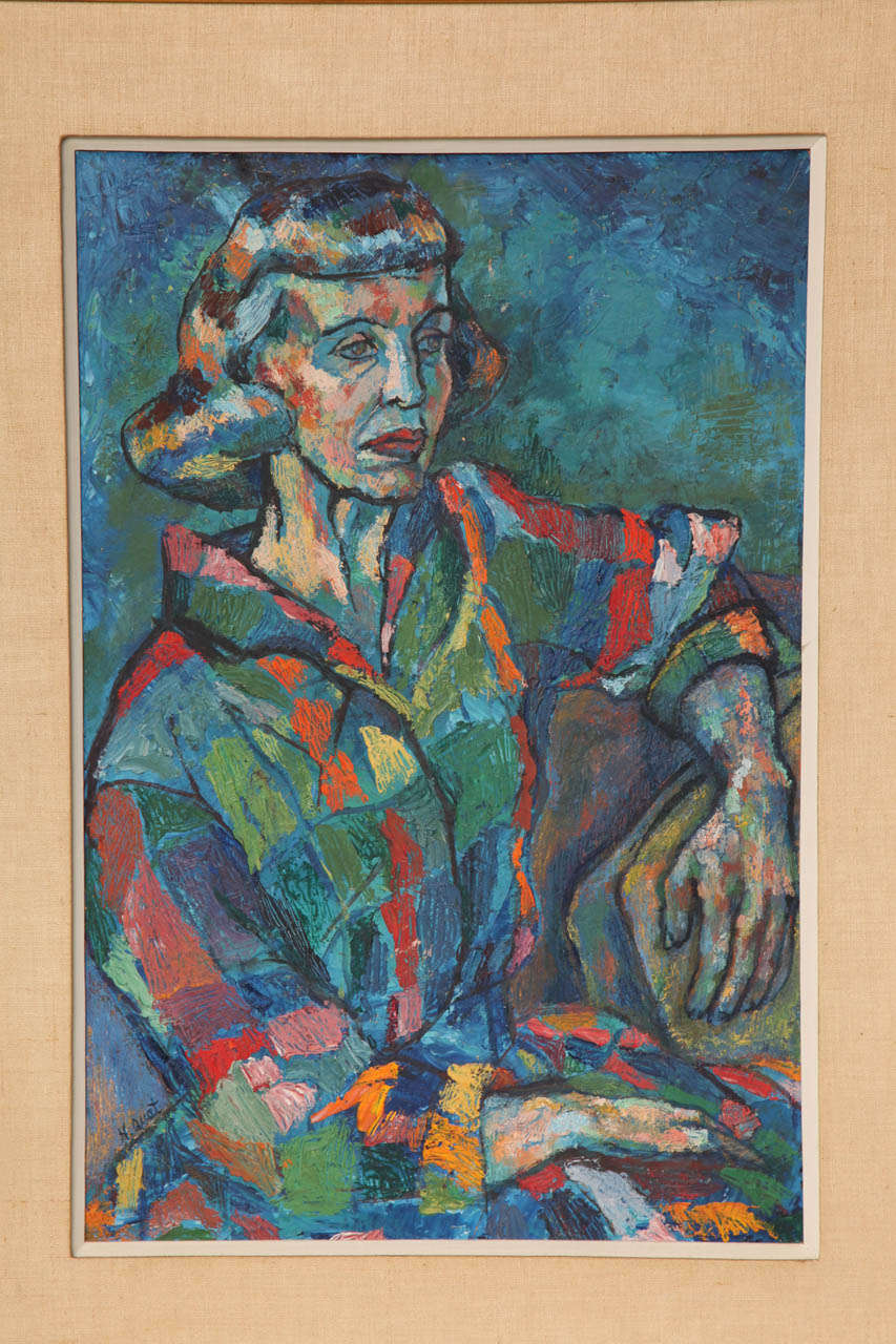 Decorative, mid-century painting of a lady, circa 1950. Signed by H. Quat.