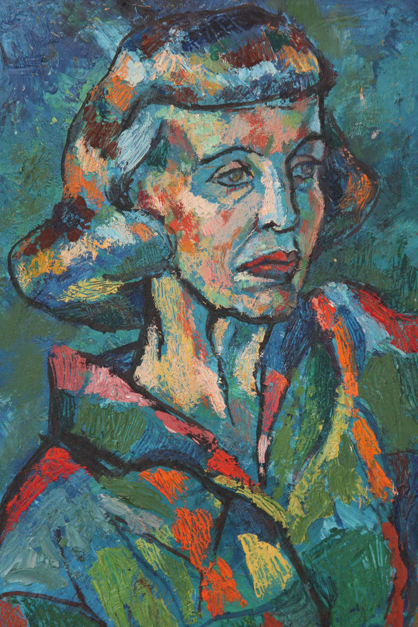 Mid-Century Modern Mid-Century Portrait of a Lady Painting, circa 1950 For Sale