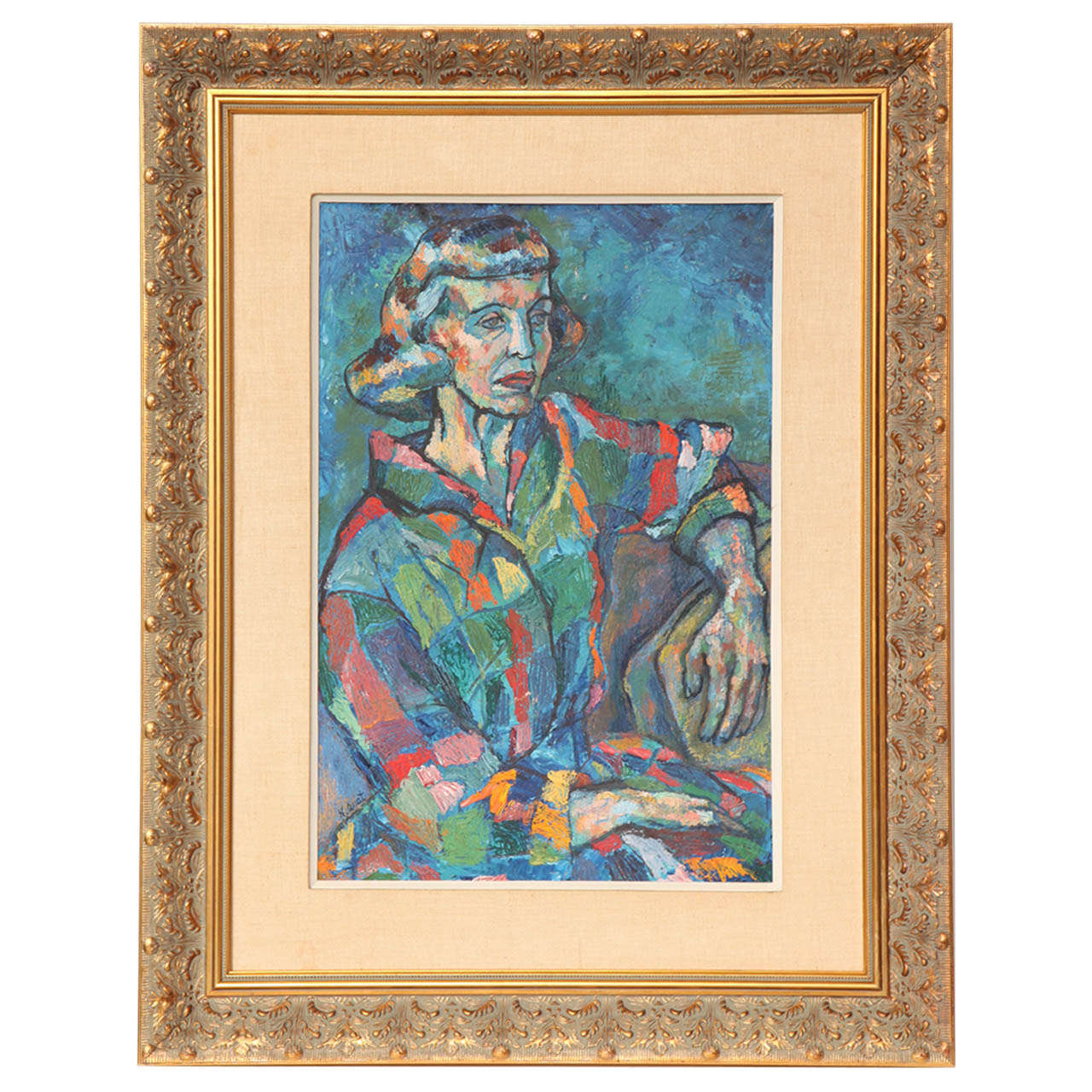 Mid-Century Portrait of a Lady Painting, circa 1950 For Sale