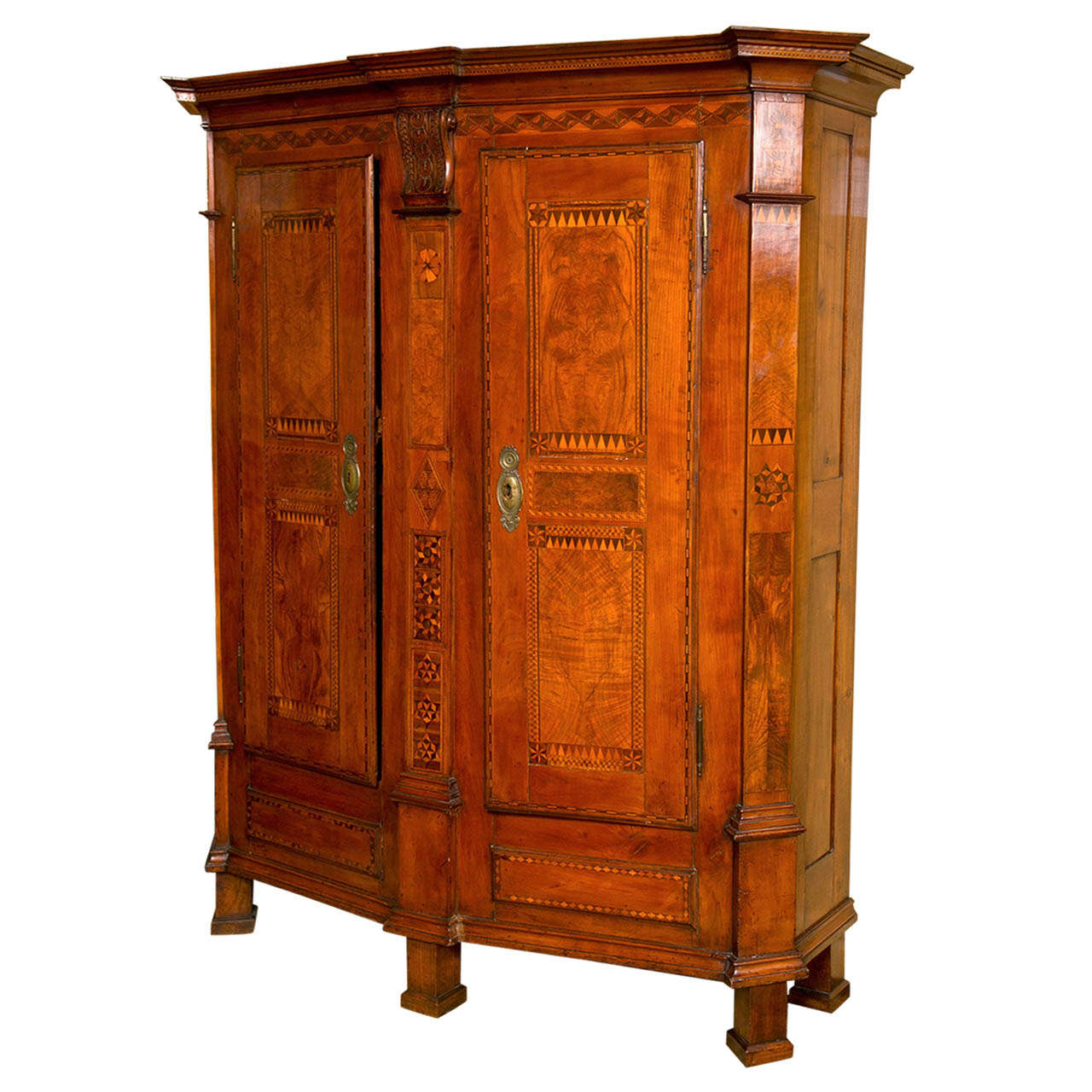 Very rare south german inlaid cherrywood armoire at stdibs