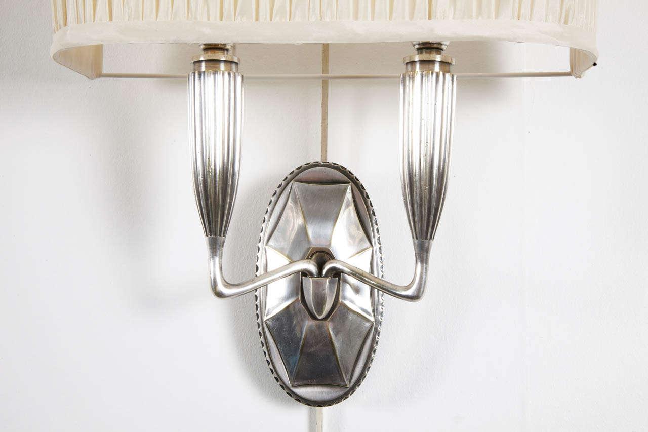 c 1925 two emile jacques ruhlmann silver bronze lights appliques deux bras de lumi re at. Black Bedroom Furniture Sets. Home Design Ideas