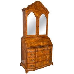 An 18th Century Italian Venetian Rococo Walnut Slant Front Desk Bureau Bookcase
