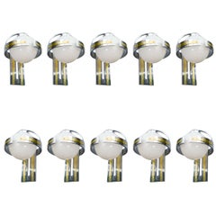 Set of Ten Metal and Glass Wall Sconces