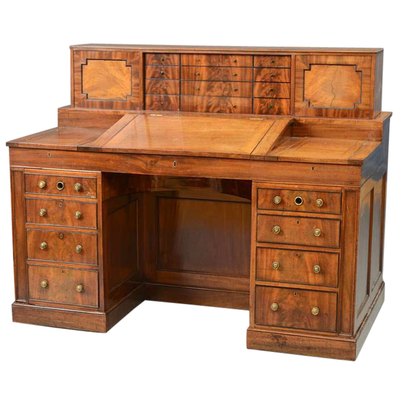 Very Fine Period Regency Mahogany Mechanical Gentleman S Desk For