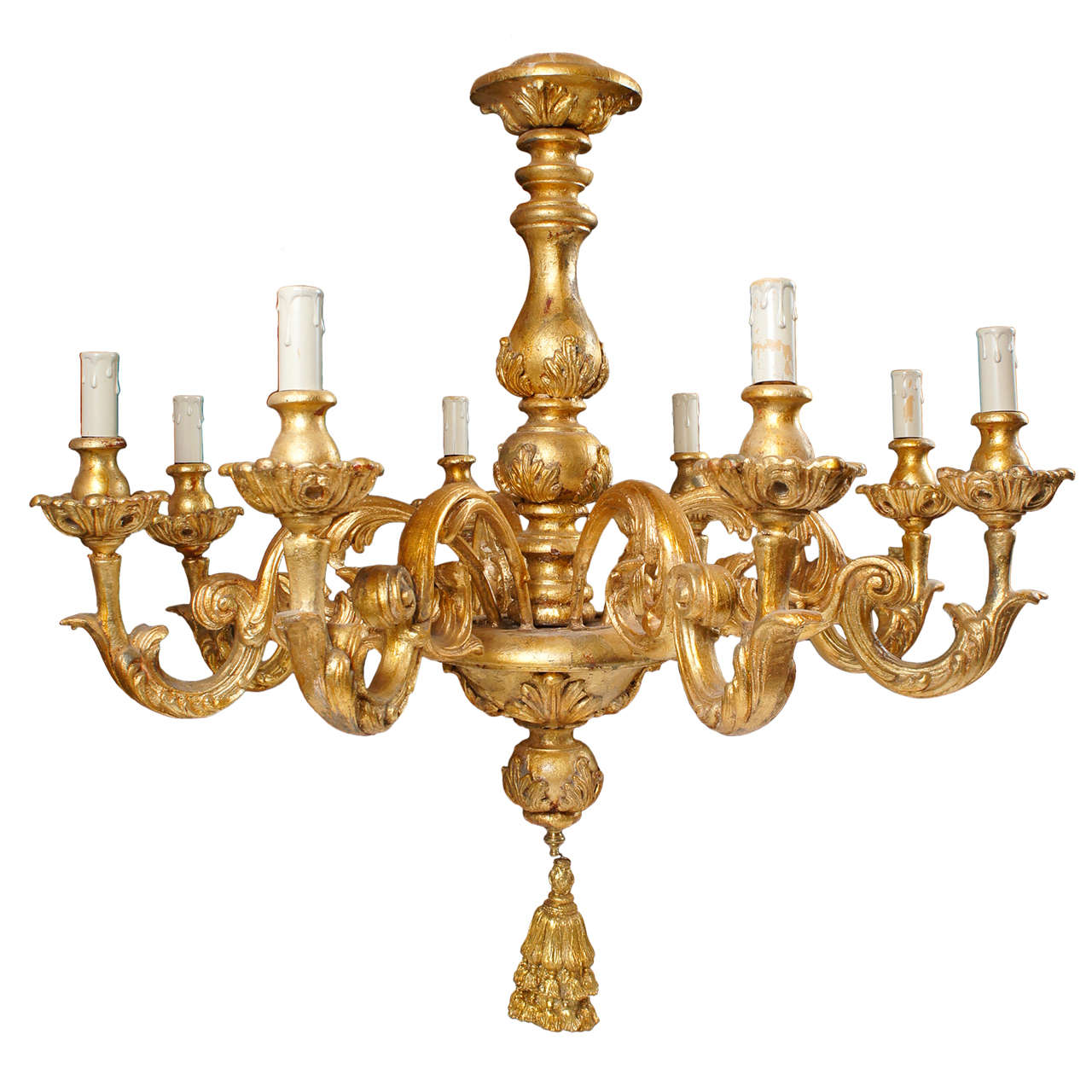 Italian Gilted Carved Wood Chandelier For Sale