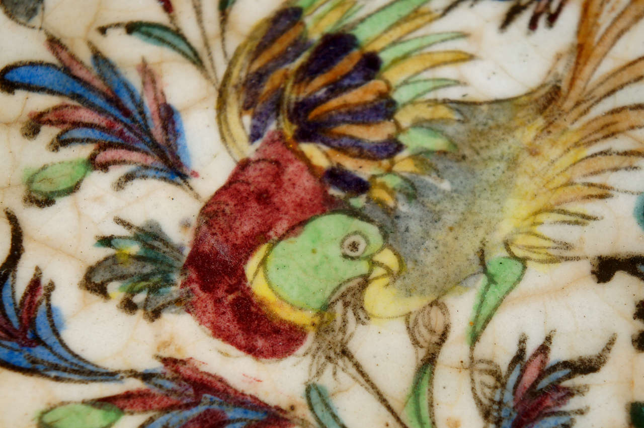 Persian Terra Cotta Hand Painted Tile At 1stdibs