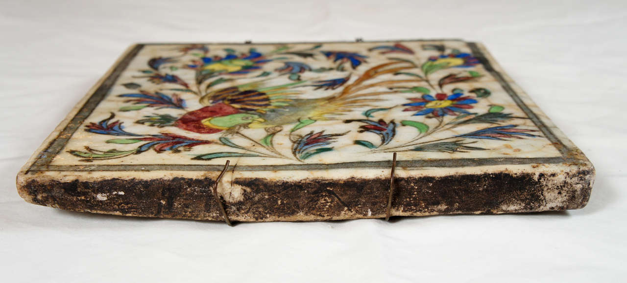 18th Century and Earlier Persian Terra Cotta hand-painted Tile