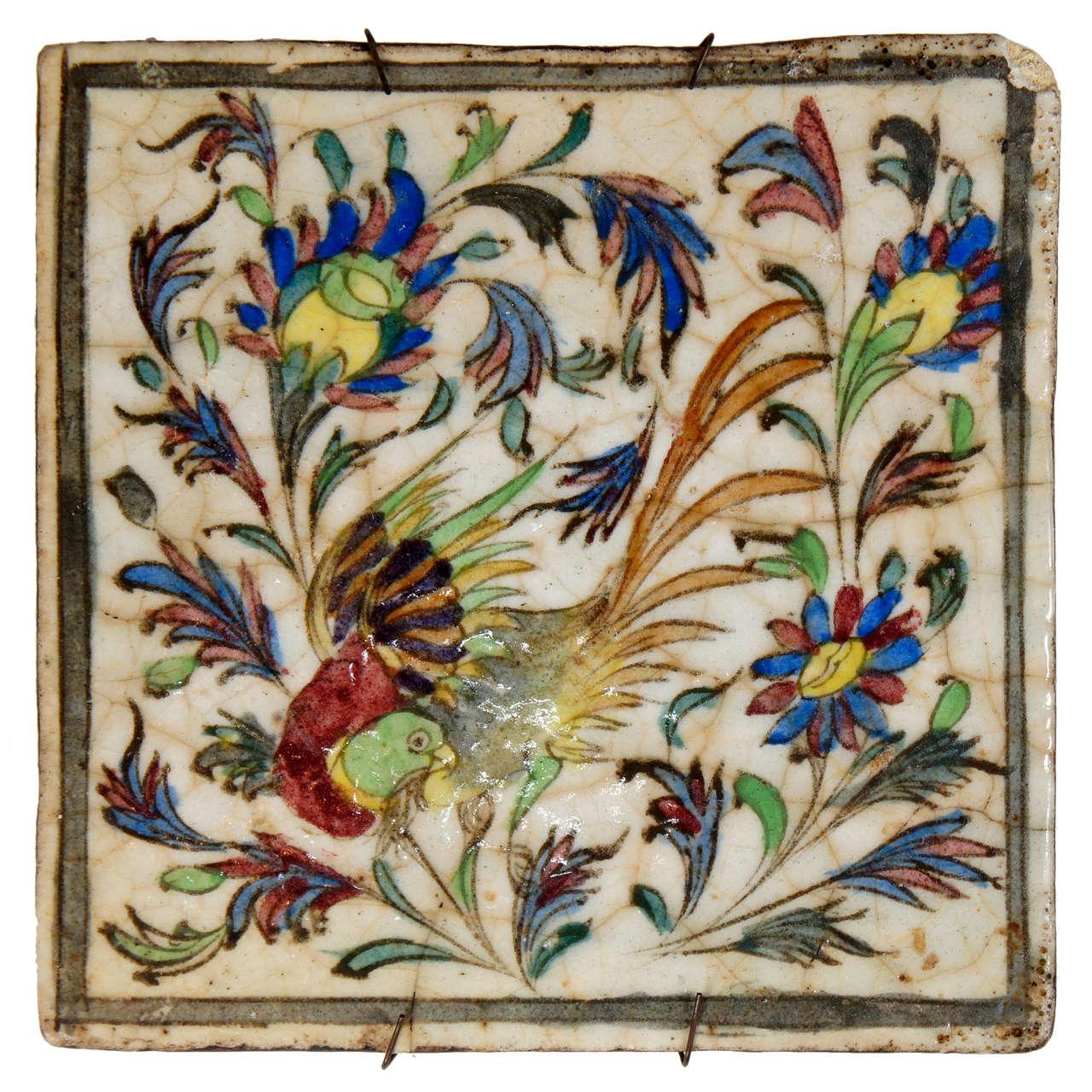 Persian Terra Cotta hand-painted Tile