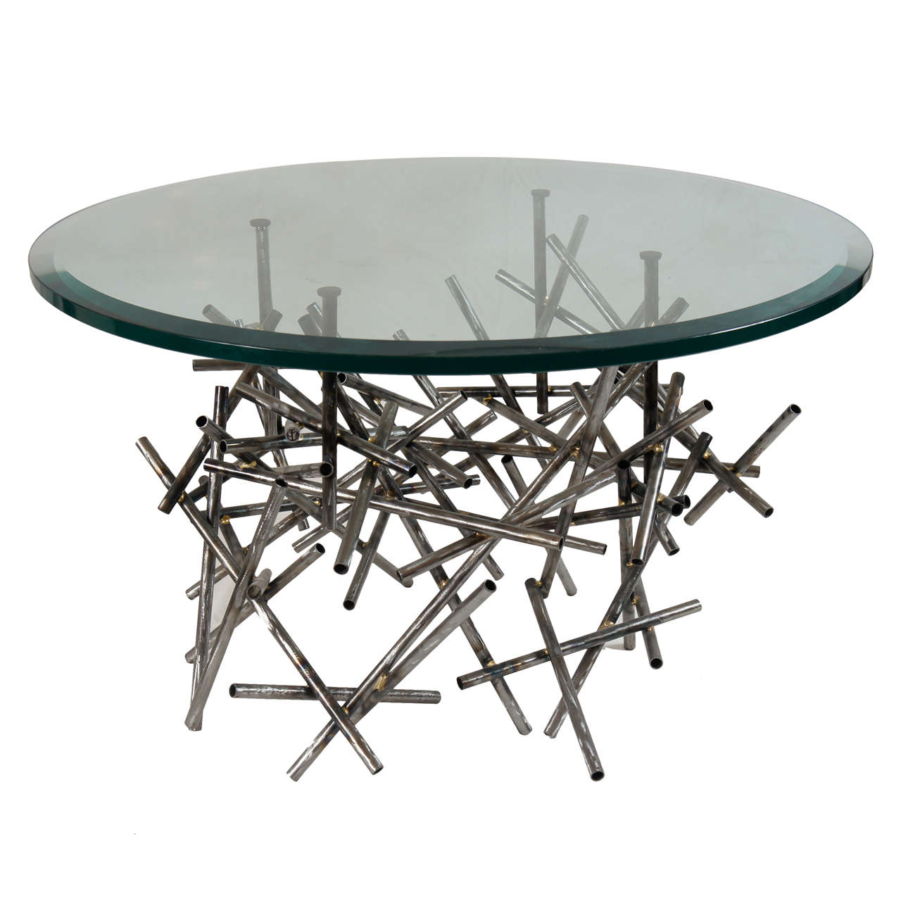 Original Custom Sculptural Coffee Table In Textured Steel By Lou Blass For Sale At 1stdibs